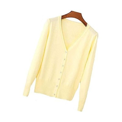 S.S Womens V-Neck Button Down Long Sleeve Crew Neck Soft Classic Basic Knit