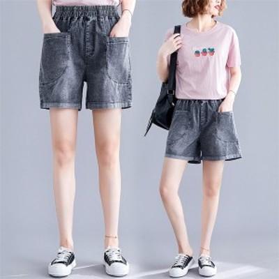 レディース ジーンズ ジーパン 女子 Gパン ショートパンツ デニムパンツ ゆったり 夏 ポケット 大きいサイズ カジュアル