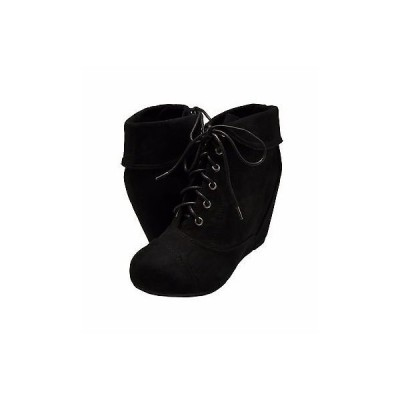 ブーツ バンブー レディース シューズ Bamboo Carmela 24 プラットフォーム ウエッジ Collar ブーティーズ ブラック FS *New*