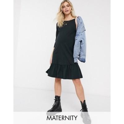 ママライシアス レディース ワンピース トップス Mamalicious Maternity t-shirt dress with peplum hem in black