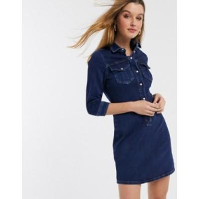 リバーアイランド レディース ワンピース トップス River Island mini denim shirt dress in dark blue Dark blue