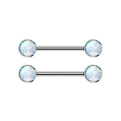 Implant Grade Titanium Internally Threaded Bezel Set Synthetic Opal Ni