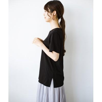 【ハコ】 汗染み軽減加工で安心!1枚でも重ね着にも便利なシンプルTシャツ by ZAMPA レディース ブラック M haco!