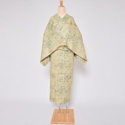 【中古品】「クリーム 草花づくし」仕立て上がり リサイクル着物 小紋 単衣【メール便不可】