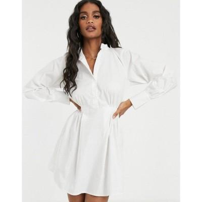 ミスガイデッド レディース ワンピース トップス Missguided poplin shirt dress with elasticated waist in white White