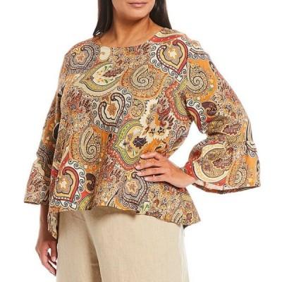 ブライン ウォーカー レディース シャツ トップス Plus Size Fran Paisley Print 3/4 Ruffle Sleeve Linen Hi-Low Shirt