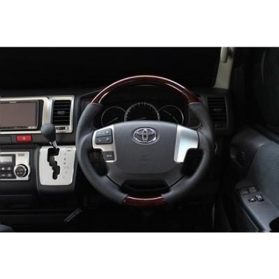 【 ハイエース 200系 (4・5型)用 】 レアル ステアリング (ブラウンウッド) 品番: H204-BRW-BK (REAL 純正交換タイプ Steering)