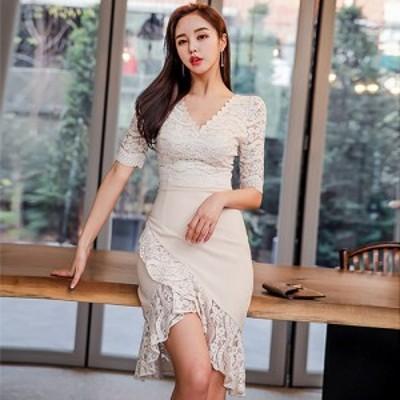 キャバ ドレス キャバドレス ワンピース ミディアムドレス フラワーレース ナチュラル アイボリー S M L XL
