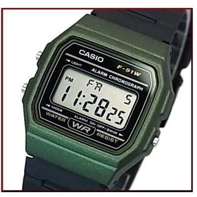 CASIO Standard カシオ スタンダード アラームクロノ メンズ腕時計 軽量・薄型デジタルモデル ダークグリーンケース ラバーベルト 海外モデル F-91WM-3A