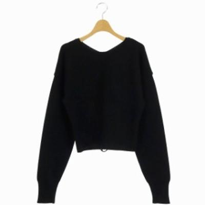 【中古】ルシェルブルー LE CIEL BLEU 2way コルセット ニット トップス セーター リブ 長袖 36 黒 ブラック