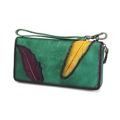 (新品) Women's Wallet Genuine Leather Zip Around Wristlet Long Purse Vintage Embossing Cowhide Capacity Handmade Clutch(Cyan)