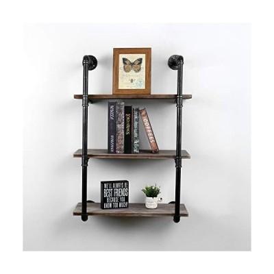 Womio インダストリアルメタルと木製ウォールシェルフユニット 素朴なフローティングウッドシェルフ 壁掛け ブラック