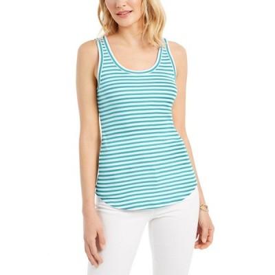 チャータークラブ カットソー トップス レディース Supima® Cotton Knit-Stripe Tank Lt Pool Blu Cmb