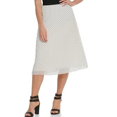 ダナ キャラン ニューヨーク レディース スカート ボトムス Dot Print Chiffon Pleated Pull-On A-Line Midi Skirt Ivory/Black Dot