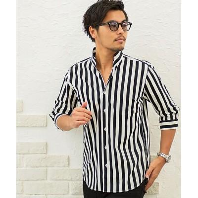 (CavariA/キャバリア)CavariA【キャバリア】日本製スキッパーブロード7分袖シャツ/メンズ ブラック