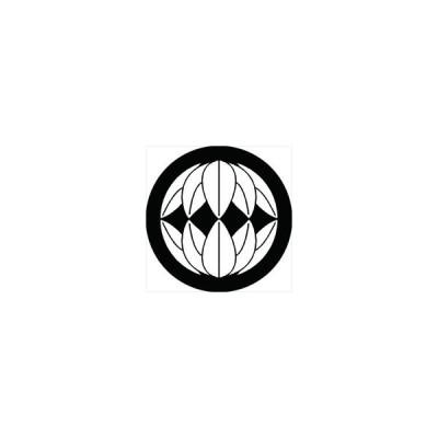 家紋シール 向い十枚笹紋 直径15cm 丸型 白紋 KS15M-1193W