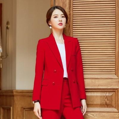 秋の新しいスーツスーツの女性のプロのホストが、女性専用の無地のプロのスーツに署名しました