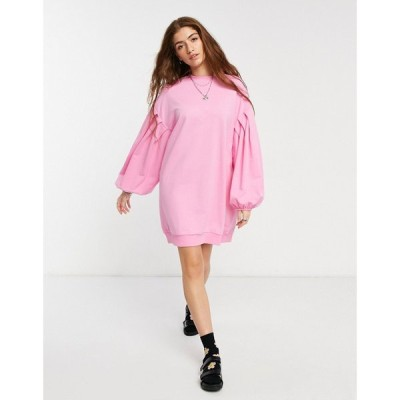 エイソス ASOS DESIGN レディース ワンピース スウェットワンピ ワンピース・ドレス oversized balloon sleeve sweatshirt dress in pink ピンク