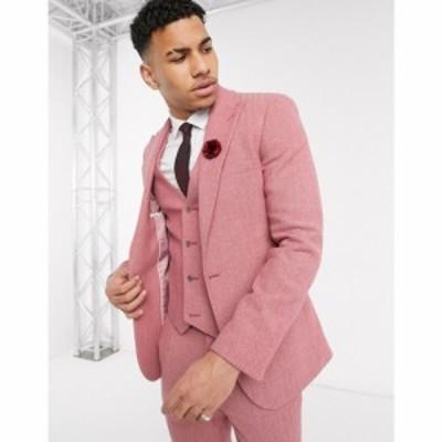 エイソス ASOS DESIGN メンズ スーツ・ジャケット アウター wedding super skinny suit jacket in rose pink wool blend herringbone ピ