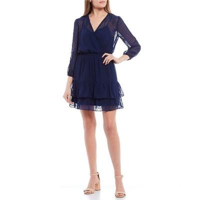 シティヴァイブ レディース ワンピース トップス 3/4 Sleeve V-Neck Swiss Dot Ruffled Tiered Chiffon Dress