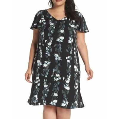 Nordstrom ノードストローム ファッション ドレス Sejour NORDSTROM Womens Floral Print Black Size 16W Plus Shift Dress