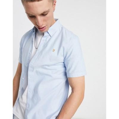ファーラー Farah メンズ 半袖シャツ トップス Brewer organic short sleeve shirt in blue ブルー