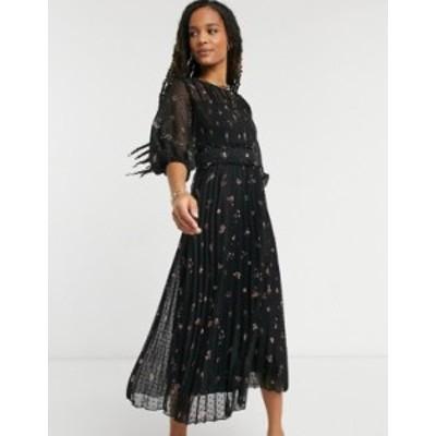エイソス レディース ワンピース トップス ASOS DESIGN dobby pleated shirred midi dress in playful floral print Dark based floral