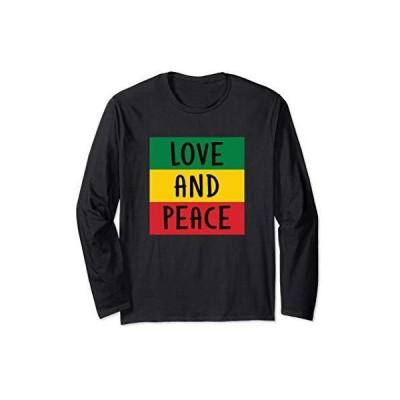 愛 平和 ラスタ レゲエ アフリカの旗 長袖Tシャツ