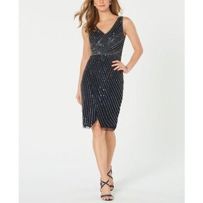 アドリアナ パペル ワンピース トップス レディース Embellished Cutaway Sheath Dress Midnight