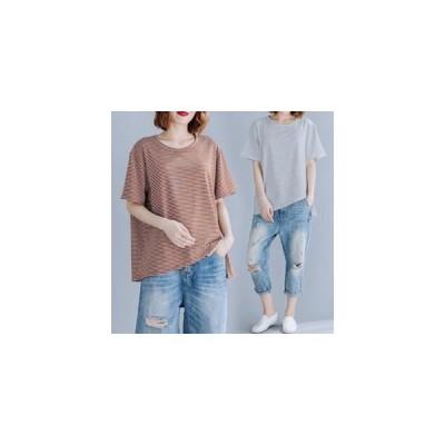 Tシャツ tシャツ レディース 半袖tシャツ 半袖 丸首 ボーダー柄 イレギュラ 夏tシャツ ゆったり 大きいサイズ 体型カバー おしゃれ 着痩せ 夏物 新作
