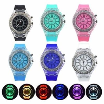 腕時計 Weicam レディース 蛍光 カラフル ラインストーン 腕時計  アナログ クォーツ 腕時計  6個