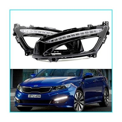 iJDMTOY Xenon White LED Daytime Running Lights Compatible With 11-13 Kia Optima w/Glossy Black Bezel Covers, Direct Replacement DRL Bezel As