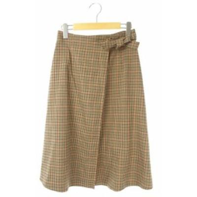 【中古】リリーブラウン Lily Brown 17AW チェックラップスカート ひざ丈 フレア 0 茶 /YS ■OS レディース