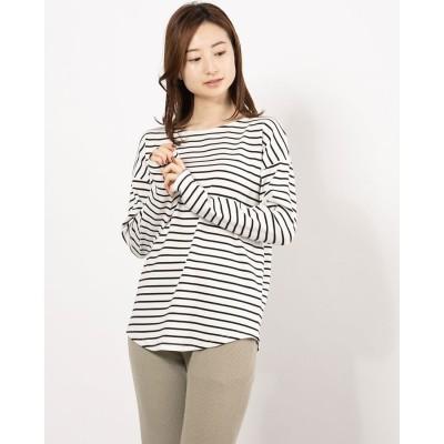 ルゥデ Rewde ボートネックロングTシャツ(1R15-03171) (シロクロ)