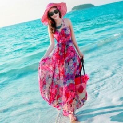 リゾートワンピース 花柄 ノースリーブ マキシ丈 華やか 可愛い バックリボン フレア 透け感 上品 サマードレス