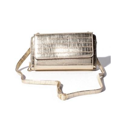 (cache cache/カシュカシュ)カシュカシュ cachecache / メタリッククロコ型押しお財布ショルダーバッグ/レディース ゴールド