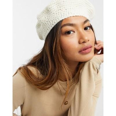 エイソス レディース 帽子 アクセサリー ASOS DESIGN crochet beret in white