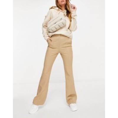 エイソス レディース カジュアルパンツ ボトムス ASOS DESIGN slim kick flare pants with seams in camel Camel