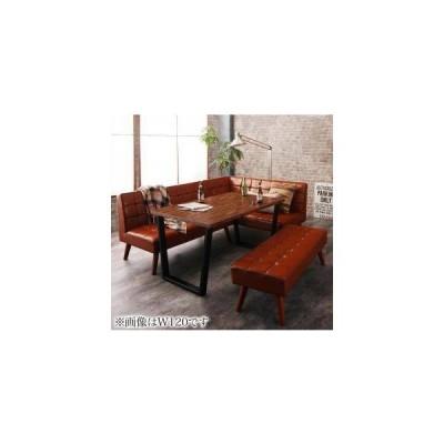 ダイニングテーブルセット 6人用 コーナーソファー L字 l型 ベンチ 椅子 レザー 4点 (机+ソファx1+右肘x1+長椅子1) 幅150 西海岸 ヴィンテージ 低め 大きい