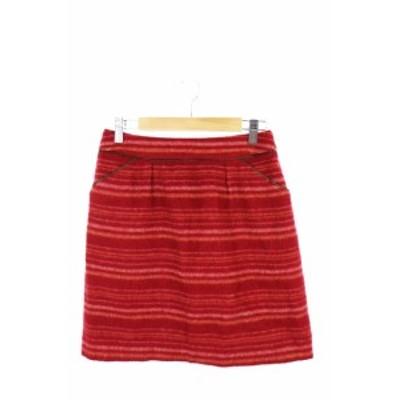 【中古】ナチュラルビューティーベーシック NATURAL BEAUTY BASIC スカート 台形 ミニ ウール 総柄 S 赤 レッド /AS レディース