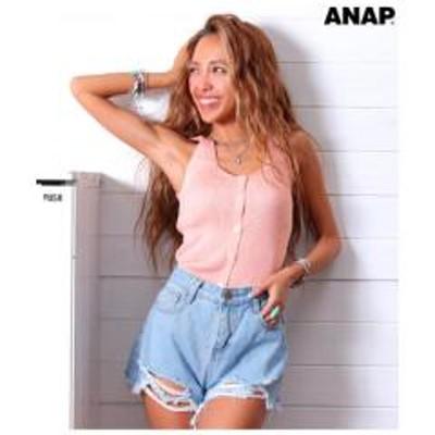 ANAP(アナップ)2WAYリブボタンノースリーブトップス【お取り寄せ商品】