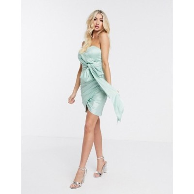 レア レディース ワンピース トップス Rare London strapless bow detail mini dress in mint