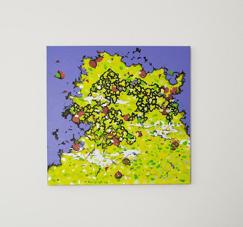 台灣藝術家 幾何 抽象 地圖 手繪壓克力畫作 原創無框畫 現代藝術