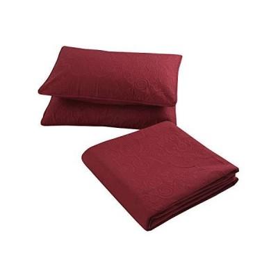 Bedding Haus 特大ベッドスプレッドベッドカバー3点セット 枕カバー付き 無地 軽量 ソフトベッドカバー フル/クイーン/キング/カリフォル
