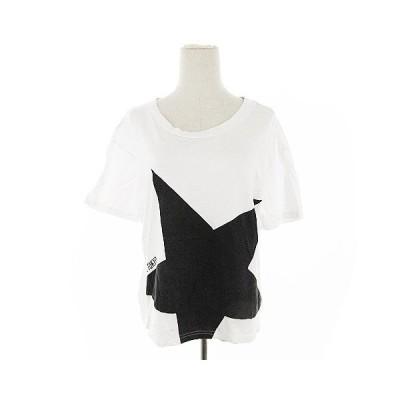 【中古】コンバース CONVERSE Tシャツ カットソー 半袖 プリント 白 ホワイト /AAM22 レディース 【ベクトル 古着】