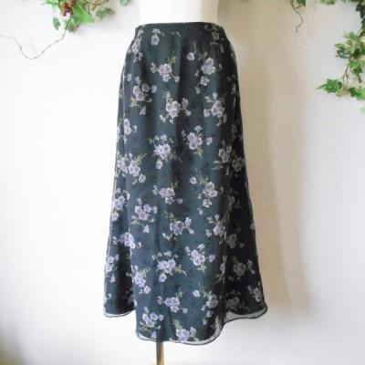 インゲボルグ INGEBORG 春夏 向き 花柄 プリント シフォン の ロング 丈 フレア スカート 日本製