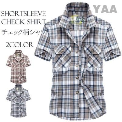 メンズ チェックシャツ 半袖 カジュアルシャツ ストレッチ おしゃれ お兄系 ファッション 夏物 新作