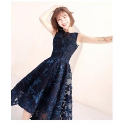 セレモニードレス 結婚式ワンピース 発表会衣装 ネイビードレス ノースリーブ フィッシュテール 可愛い 大きいサイズ 小さいサイズ エレ