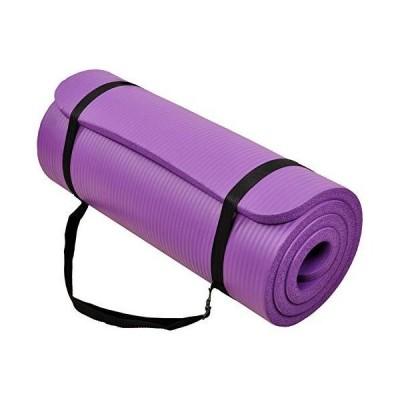"""(新品) BalanceFrom GoCloud All-Purpose 1-Inch Extra Thick High Density Anti-Tear Exercise Yoga Mat with Carrying Strap (Purple), 71"""" L"""