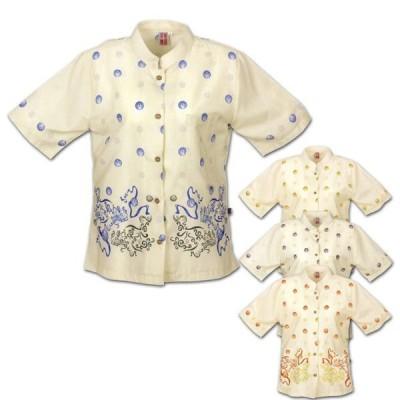かりゆしウェア 沖縄アロハシャツ レディース 月桃物語 シーサー裾柄 リゾートウェディング 結婚式